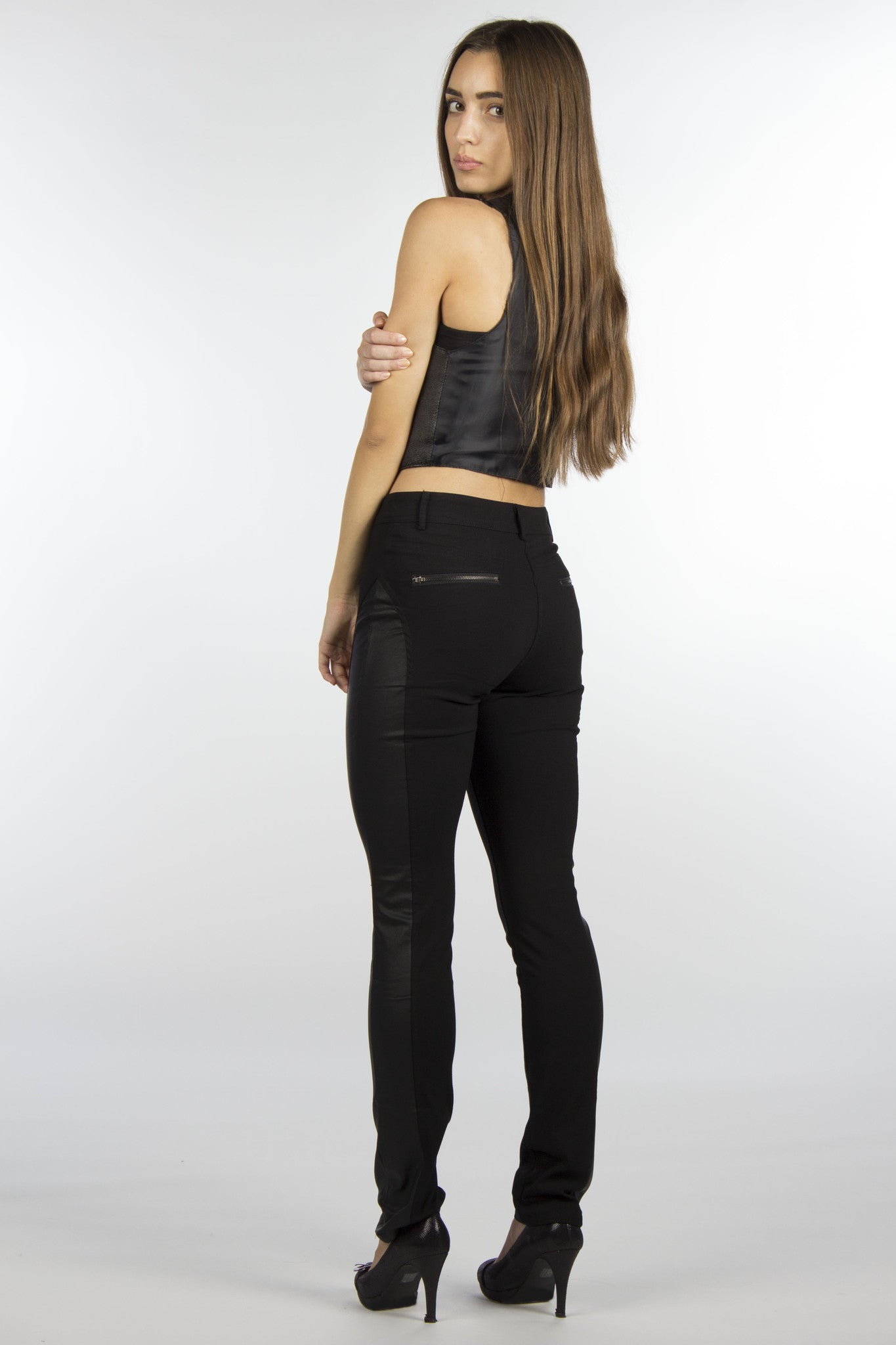 Leather-Look Coated Spandex Pants-189