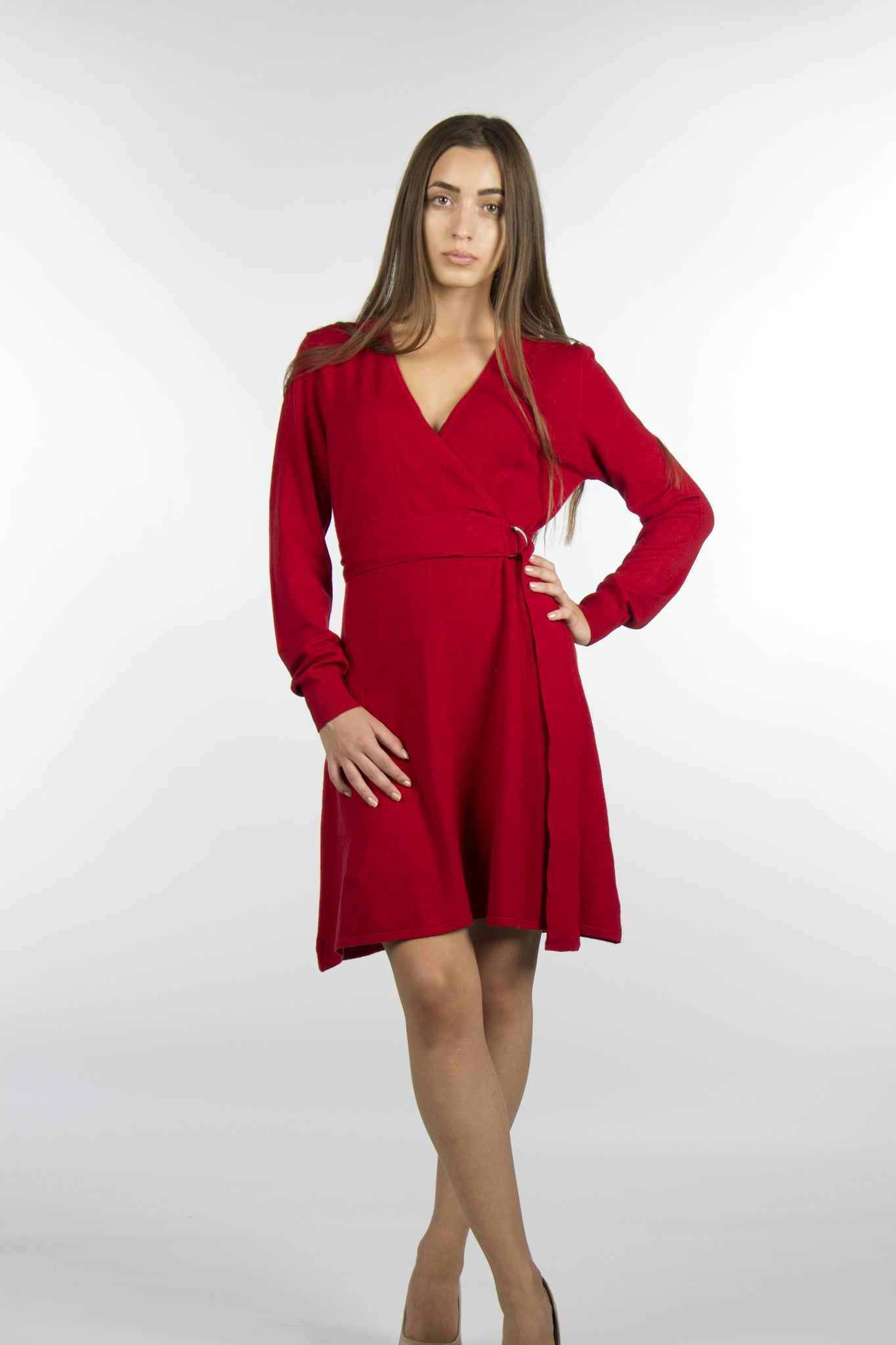 red sweater wrap dress with belt