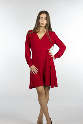 Red Wrap Sweater Dress