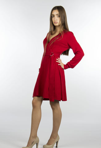 red wrap belted sweater dress