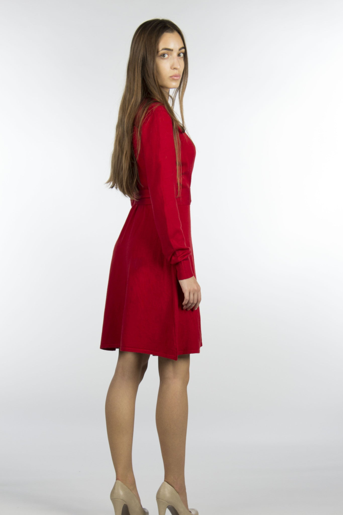 Red wrap sweater dress with belt
