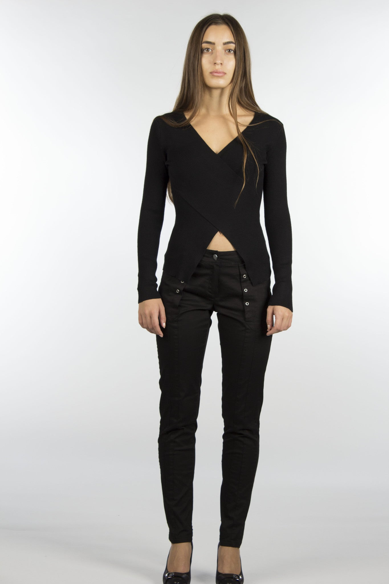 grommet black cotton skinny pants