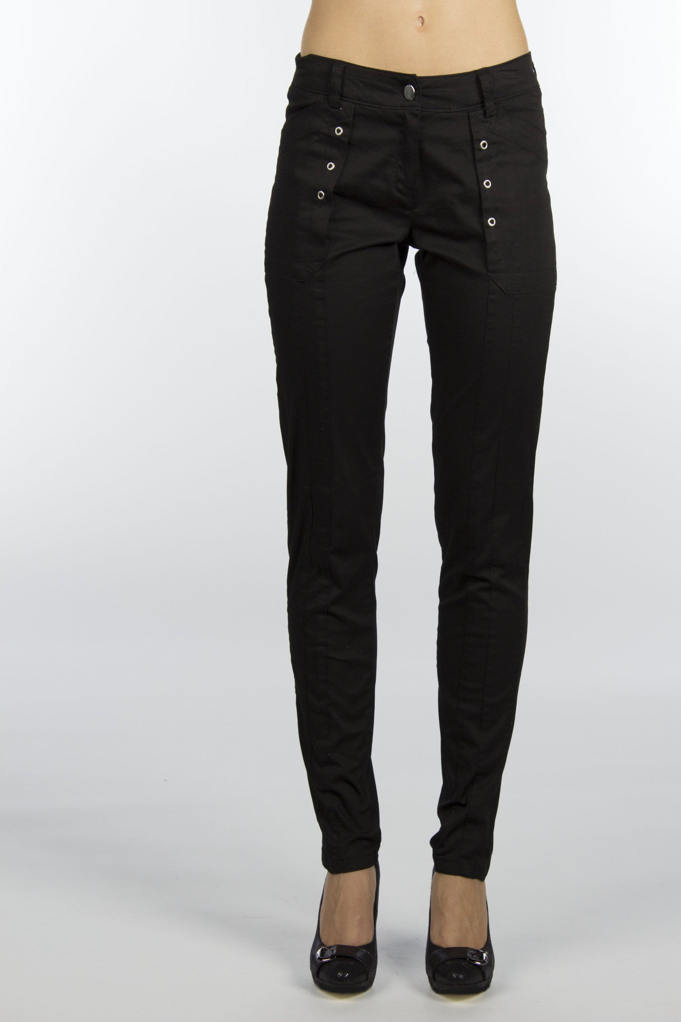black cotton grommet pants