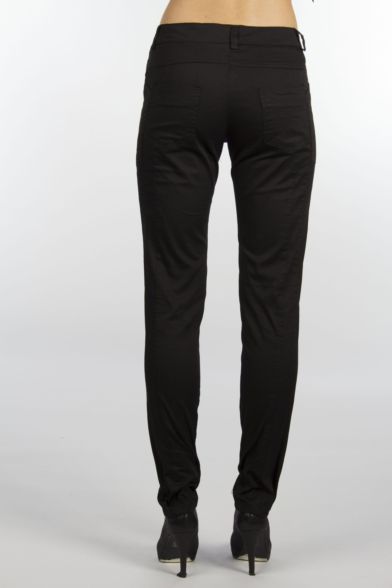 black cotton skinny pants