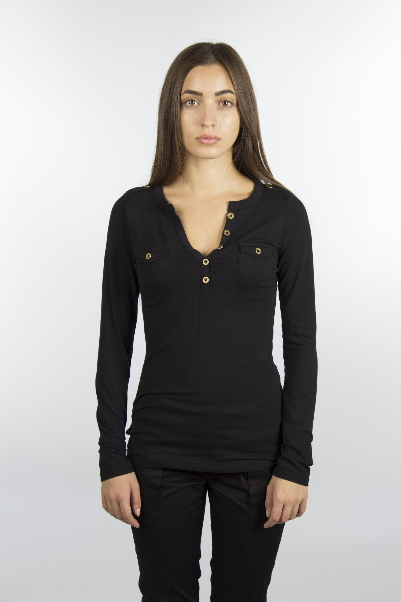 Black Jersey Cotton V-Neck Shirt