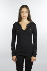 Black Jersey Cotton V-Neck Shirt-730