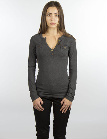 Grey Jersey Cotton Long-Sleeve Top