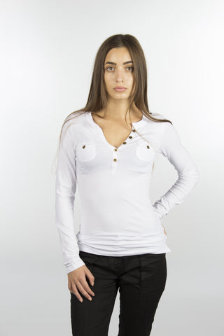 White long sleeve fitted shirt