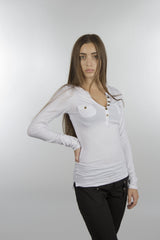 white v neck with button long sleeve shirt