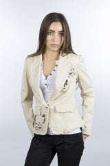 Beige floral embroidered jacket