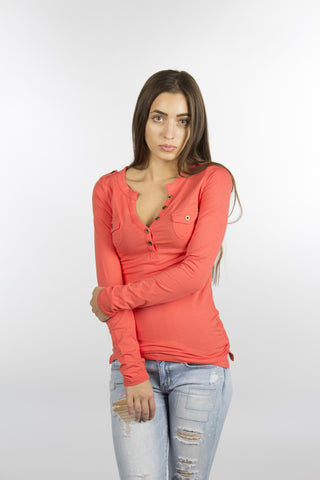 Coral Jersey Cotton Shirt