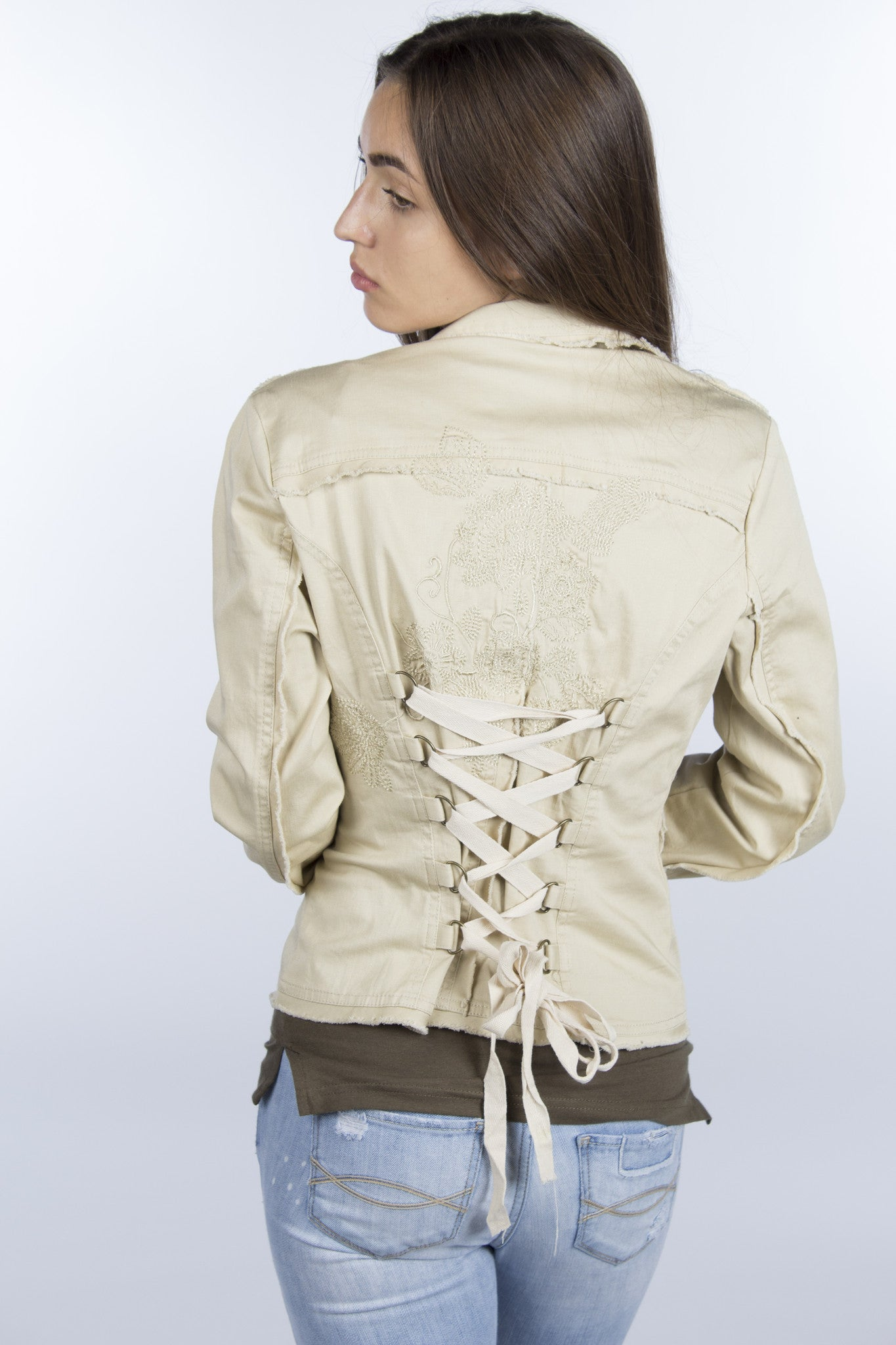 Beige adjustable corset jacket