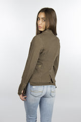 Crinkle cotton Olive jacket with studs