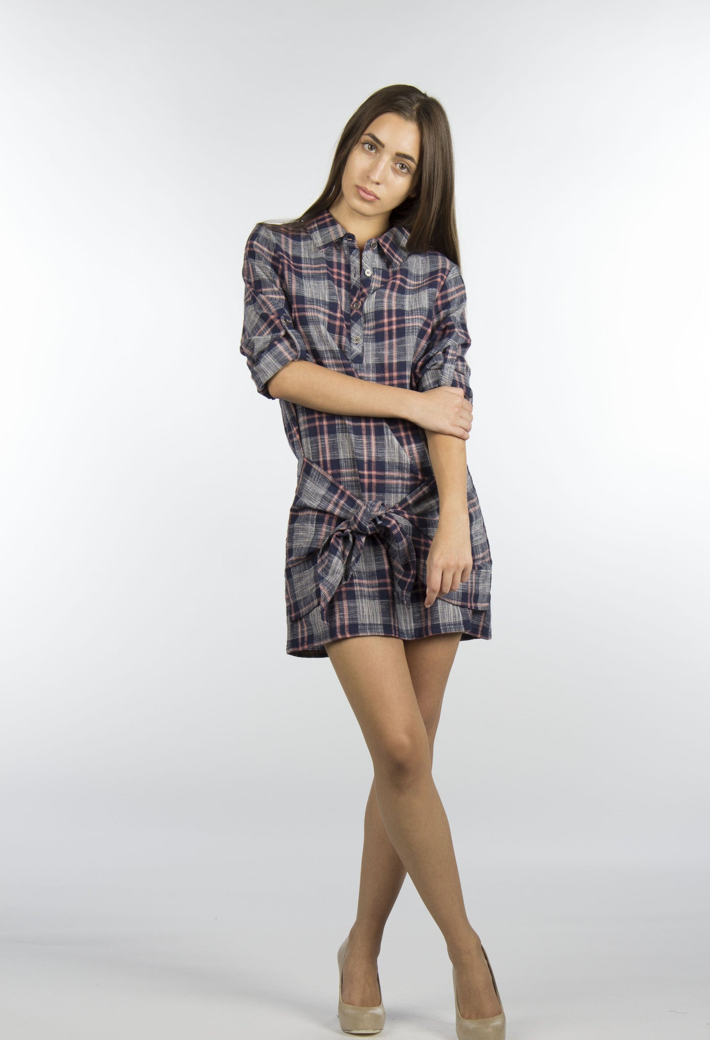 flannel plaid shirt dress with rolled up sleeve
