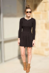 Black Fit and Flare Skater Sweater Dress-333