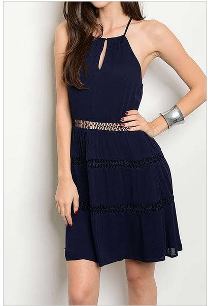 Navy Lattice Waist Sundress-322