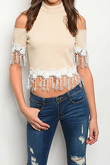 Tan Mock Neck Cold Shoulder Fringe Top