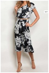 Black White Floral Pant Set-407