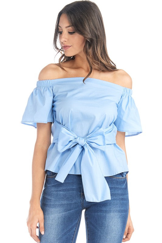 Bow Front Off Shoulder Top-718