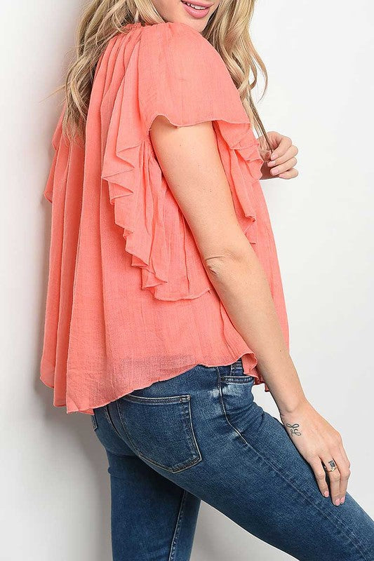 Coral Ruffle Cap Sleeve Top-728