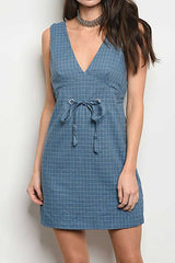 V-Neck Line Plaid Sleeveless Dress-305