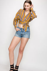 Vertical Stripe Wrap Mustard Yellow Top
