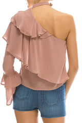 Asymmetric Off Shoulder Ruffled Blouse