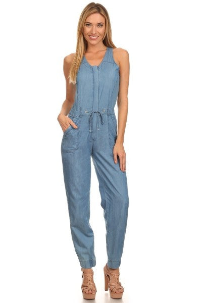Denim Jumpsuit With Cut Out-210