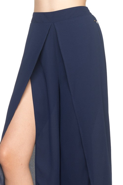 Navy Flowing Split Pant-186