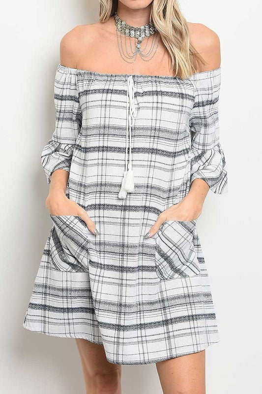 Off Shoulder Tassel Tie Relaxed Fit Dress-303