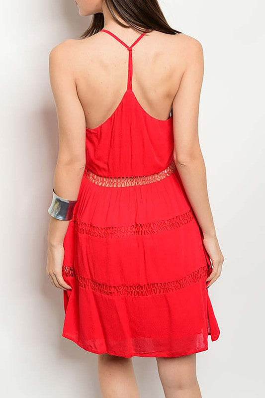 Red Lattice Waist Sundress-322