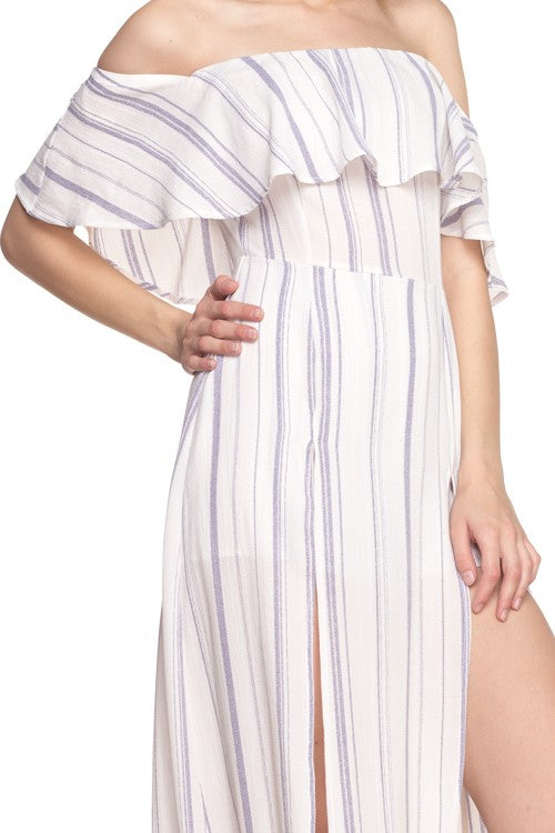 Stripe Off Shoulder Romper Dress-215