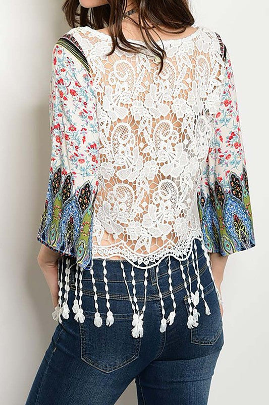 Tassel Fringe with Contrast Sleeve -716
