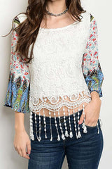 Crochet with Contrast Printed Sleeve and Tassels