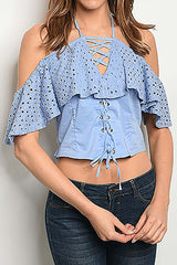 Blue Off The Shoulder Crop Top-705