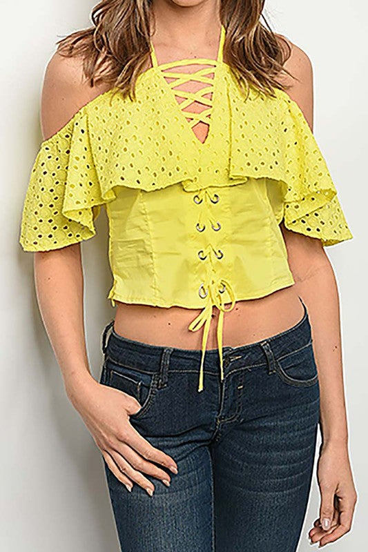 Yellow Off The Shoulder Crop Top-705