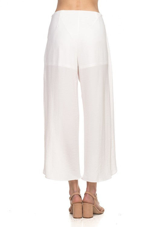 White Flowy Wrap Front Pants-185