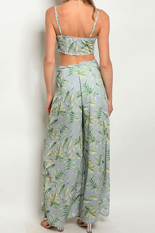 Crop Top Yellow Leaf Tropical-703