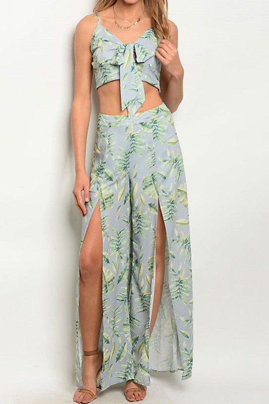 Split Pant Tropical Leaf Print-183
