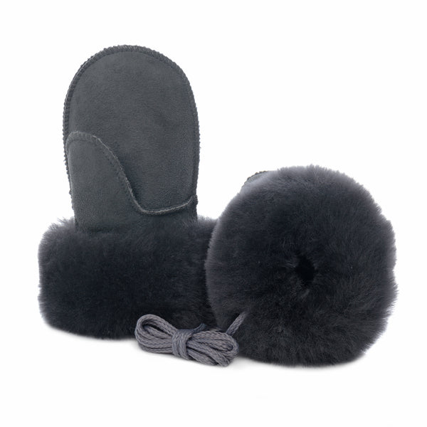 Children's Sheepskin Suede Mittens - Graphite Grey