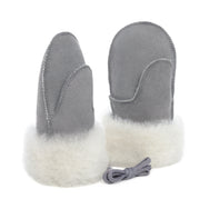 Children's Sheepskin Suede Mittens - Grey/White