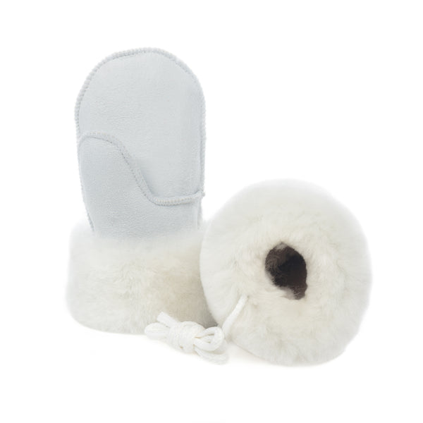 Children's Sheepskin Suede Mittens - White