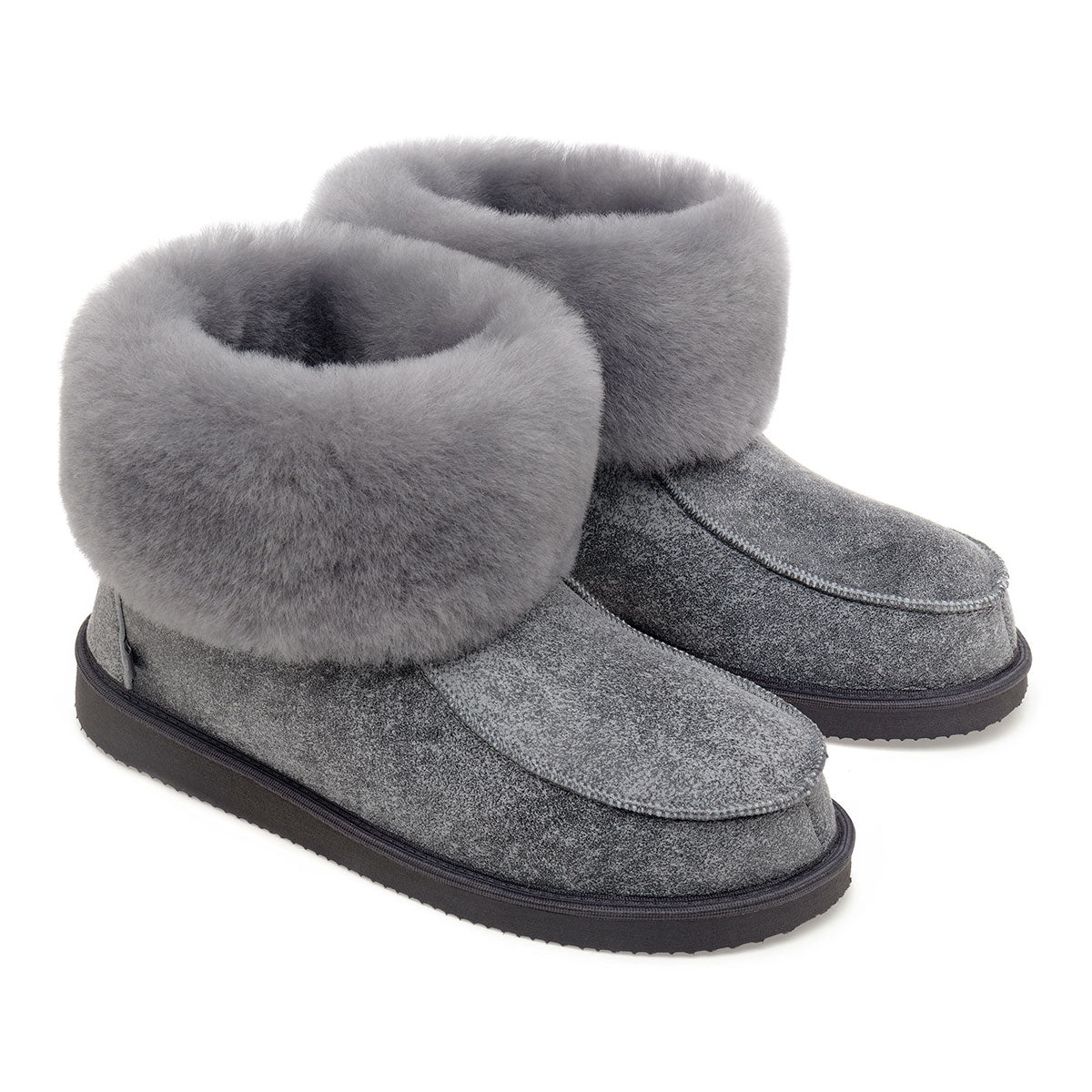 NEW Aesop Sheepskin Slippers - Grey Distressed Leather