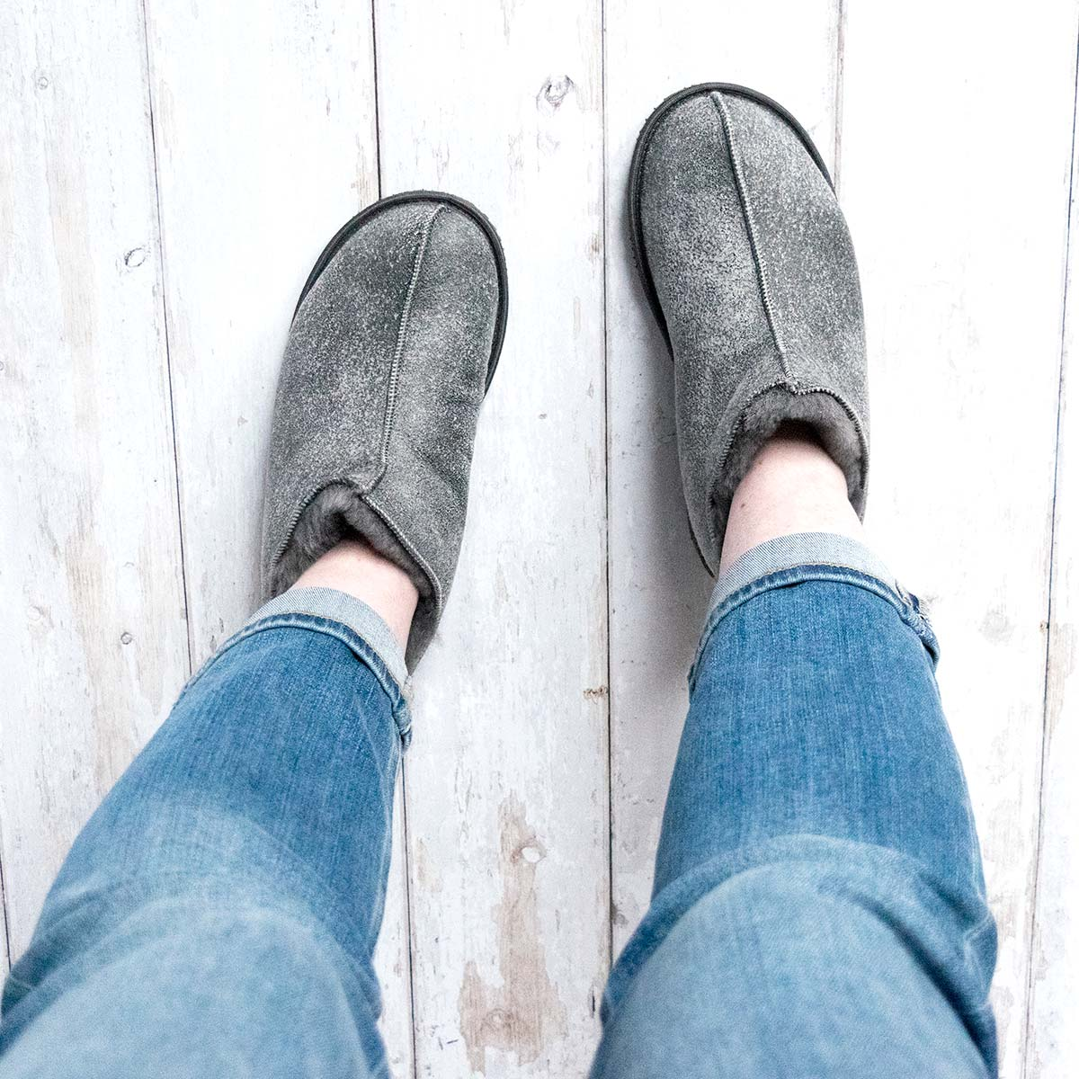 NEW Alpin Sheepskin Slippers - Grey Distressed Leather