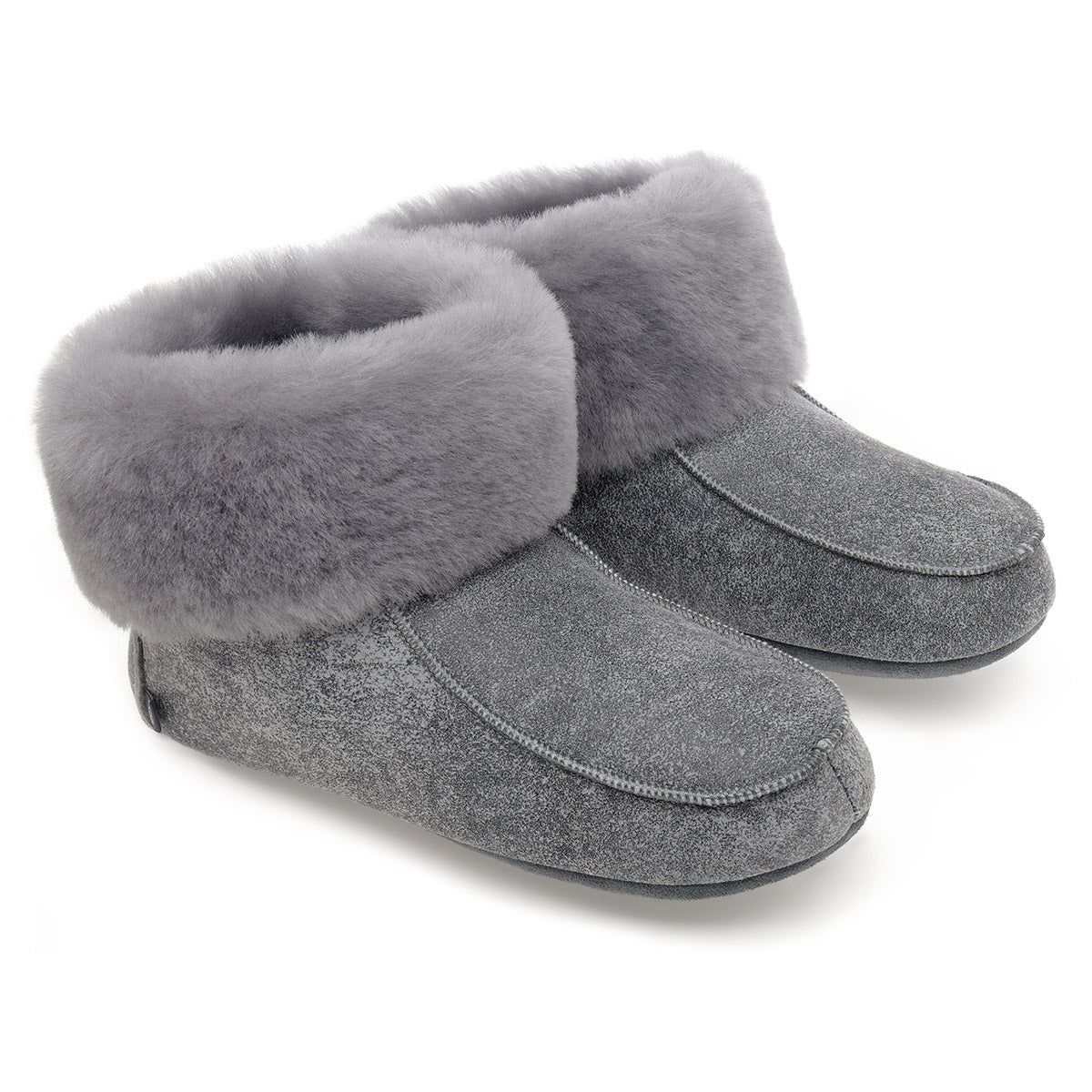 NEW Aster Sheepskin Slippers - Grey Distressed Leather