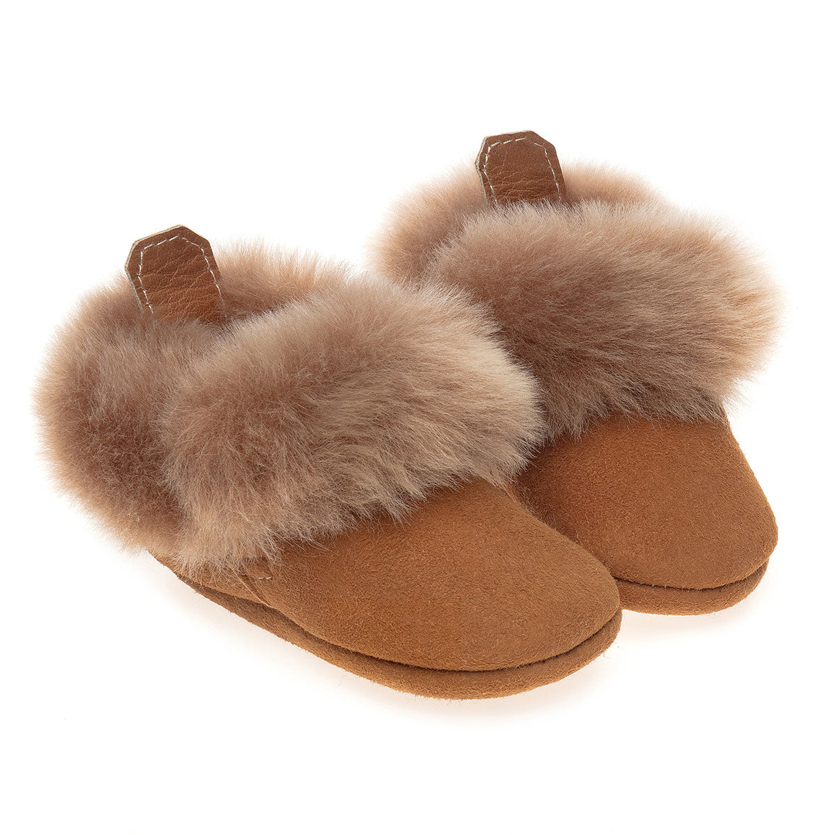 Barra Hand-Stitched Sheepskin Baby Booties - Honey