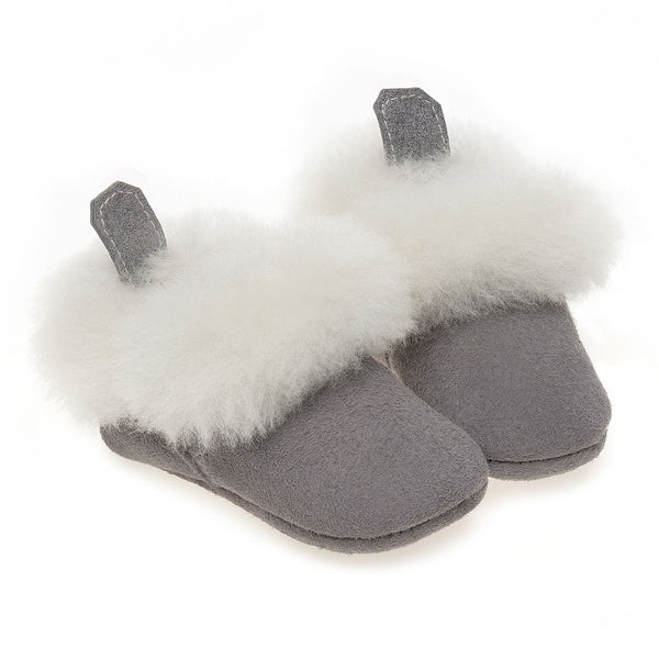 Barra Hand-Stitched Sheepskin Baby Booties - Grey