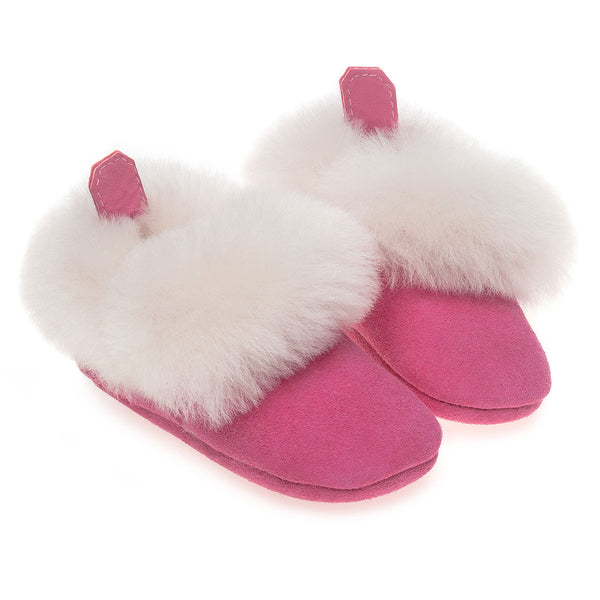 Barra Hand-Stitched Sheepskin Baby Booties - Pink
