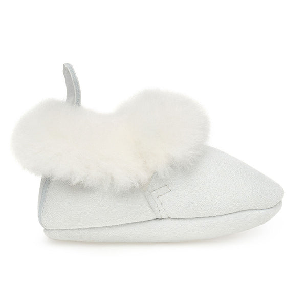 Barra Hand-Stitched Sheepskin Baby Booties - White