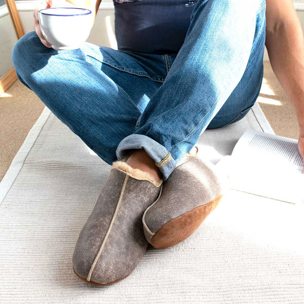 NEW Berit Sheepskin Slippers - Nutmeg Distressed Leather